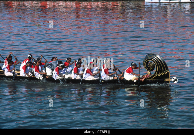 women rowing in Boat Race alappuzha Alleppey Kerala india - Stock Image