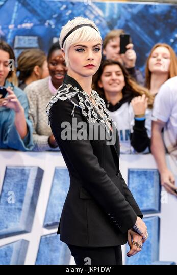 Cara Delevingne arrives on the Blue Carpet at Cineworld Leicester Square for the European Premiere of Valerian and - Stock Image
