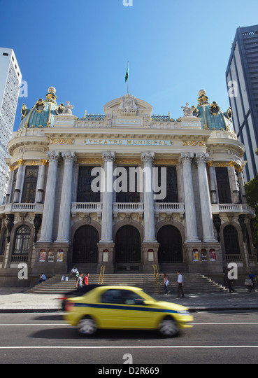 Theatro Municipal (Municipal Theatre) in Praca Floriano (Floriano Square), Centro, Rio de Janeiro, Brazil, South - Stock-Bilder