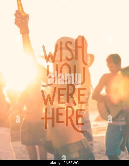 Wish you were here vector - Stock Image