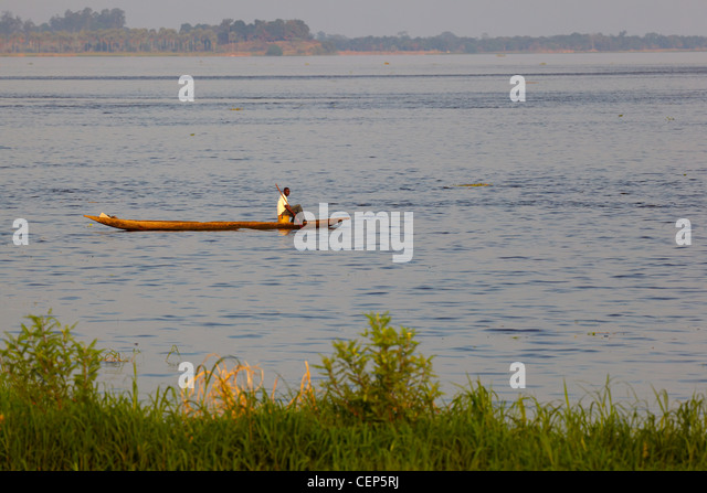 Dugout canoe on a Congo River, Republic of Congo, Africa - Stock-Bilder