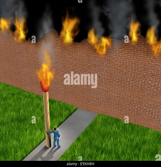 Escape concept as a businessman holding a giant ignited match burning down a brick wall made of paper as a success - Stock-Bilder
