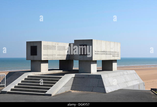 Monument on 'Omaha Beach' in honour of the U.S. National Guard, Vierville-sur-Mer, Normandy, France, Europe - Stock Image