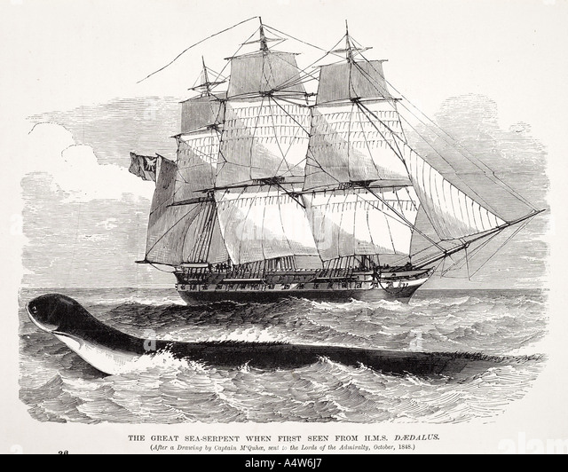 sea serpent myth legend mammal animal snake monster folklore marine nautical sail boat ship creature imagination - Stock Image