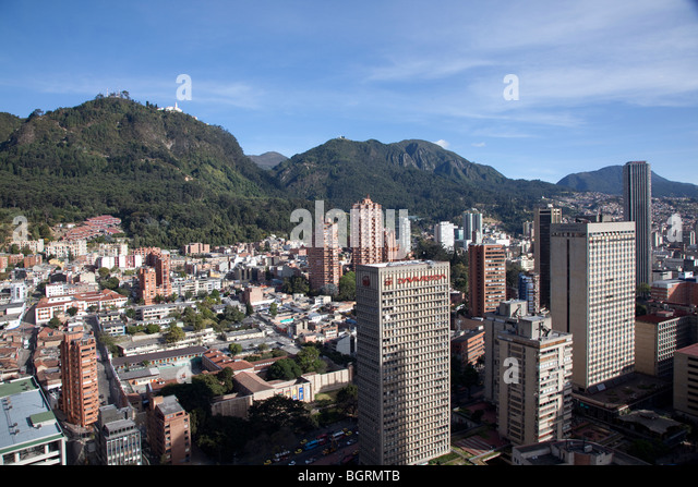 Bogota skyline and mountains from the roof of the Colseguros building in Bogota - Stock Image
