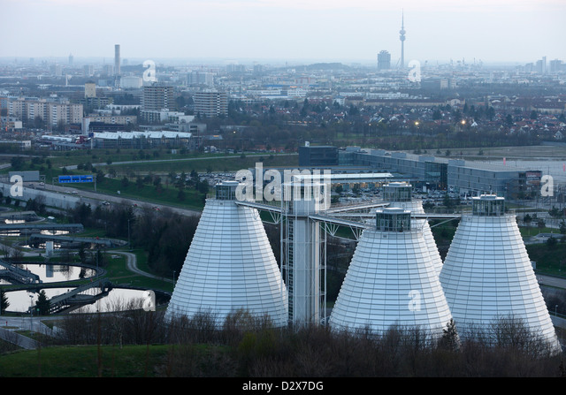 Munich, Germany, Munich skyline and sewage treatment plant Gut Gross cloth - Stock Image
