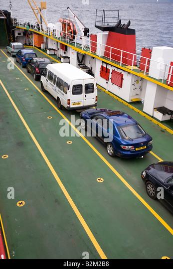 Cars aboards the Lochaline to Fishnish car ferry - Stock-Bilder