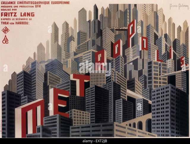 1920s France Metropolis Film Poster - Stock Image