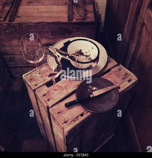 Country meal in  wine bar in Paris - Stock Image