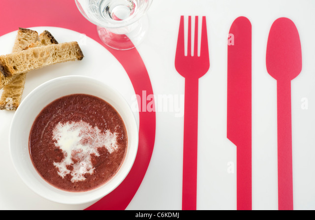 Beet and ginger soup - Stock Image