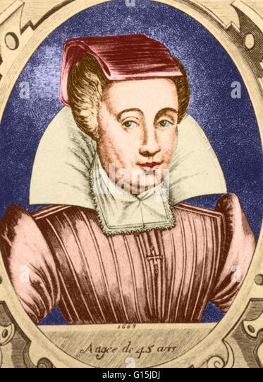 Color enhanced portrait of Louyse Bourgeois Boursier, midwife to French royalty, from her textbook of 1626, 'Observations - Stock Image