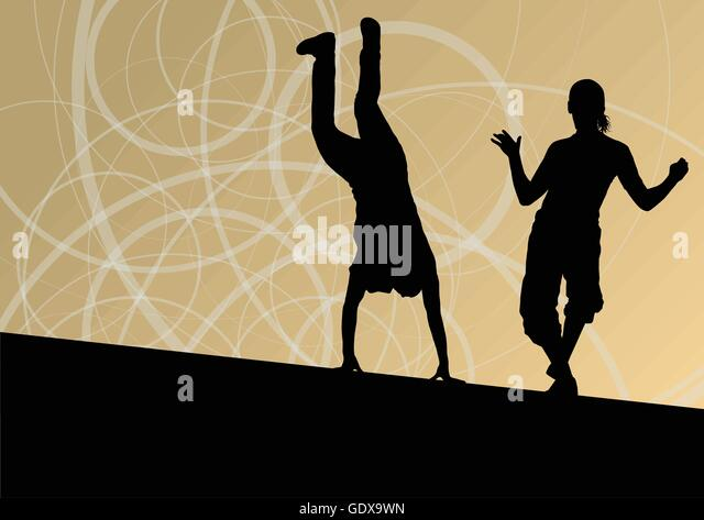 Silhouette Dance Music Abstract Background: Break Dance Stock Vector Images
