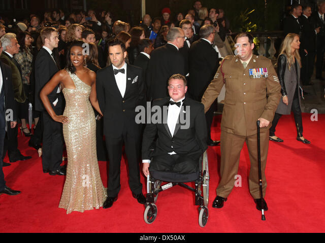 Beverley Knight, with husband husband James O'Keefe and veterans James Bond Skyfall World Premiere held at the - Stock Image