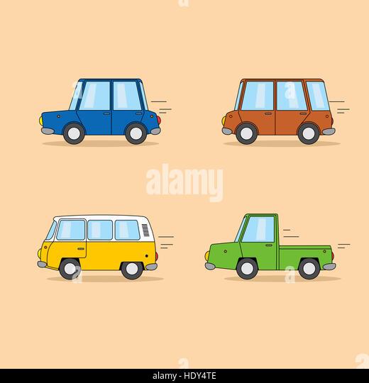 Set of funny cartoon cars: sedan, minivan, hippie van, pickup truck. - Stock Image