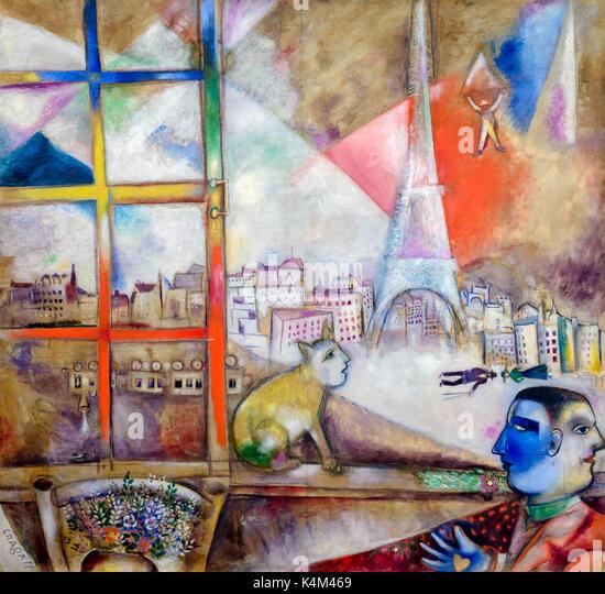 Paris Through the Window, by Marc Chagall, 1913, Solomon R. Guggenheim Museum, Manhattan, New York City, USA, North - Stock Image