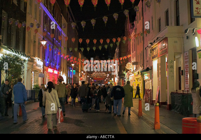 Chinatown at Night London England - Stock Image