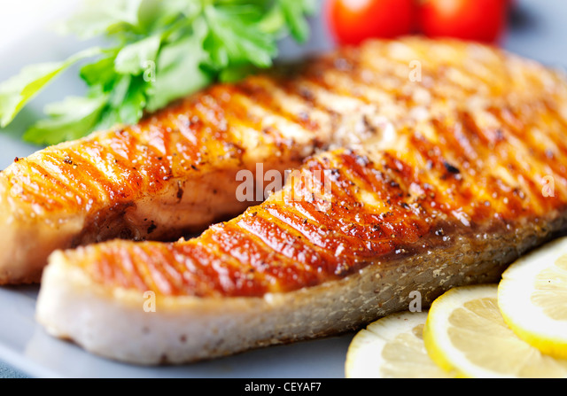 grilled salmon steak - Stock Image