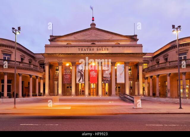Solis Theatre at twilight, Montevideo, Uruguay - Stock Image