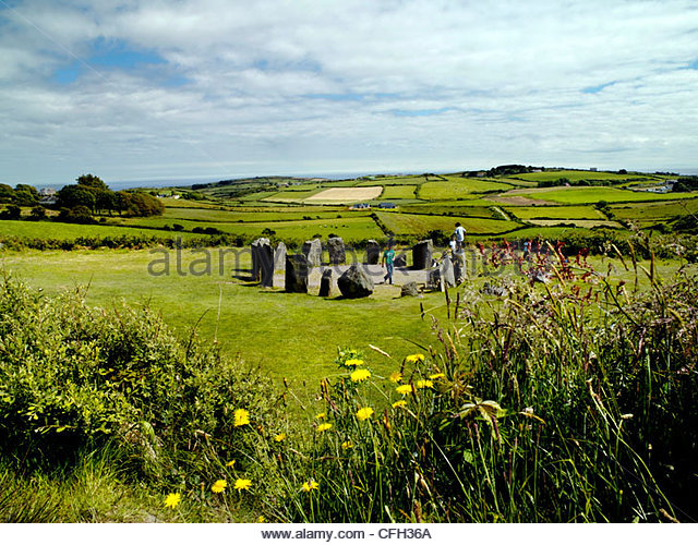 Drombeg ancient Stone Circle in Cork, Ireland - Stock Image