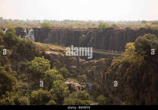 Knife edge bridge at the Victoria Falls Livingstone Zambia Africa - Stock Image
