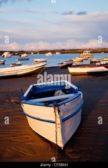 Boats Moored Near The Harbor Of Chiclana De La Frontera In Santa Petri; Andalusia Spain - Stock Image