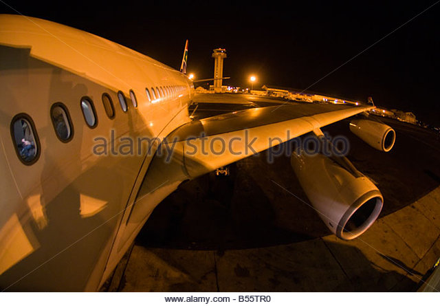 South African Airways Airbus A340 600 Jet on a tarmac during a refueling stop in Dakar Senegal - Stock Image