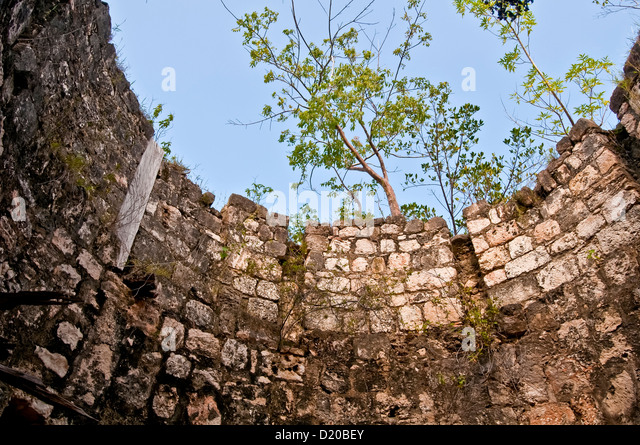 Interior view from inside an old stone sugarmill windmill tower looking up toward sky Montgego Bay Jamaica - Stock Image