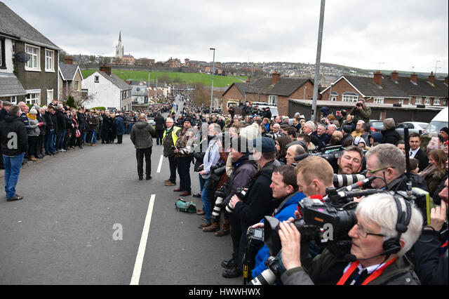 Derry, Northern Ireland. 23rd March, 2017. The Worlds Media at the Funeral of Sinn Féins Martin McGuinness - Stock Image