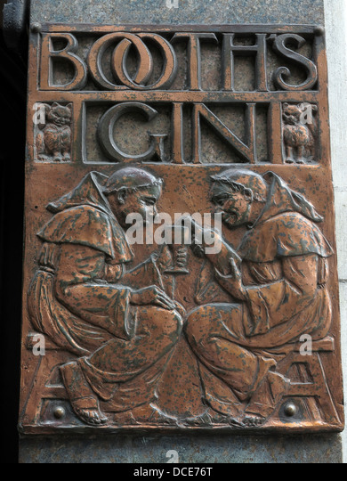 Booths Gin in copper engraving plate, outside the historic Black Friar pub , Blackfriars London England UK - Stock Image