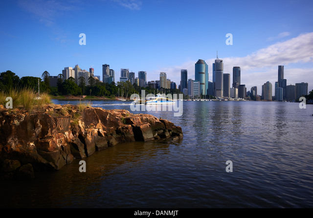 Brisbane central business district & citycat ferry - Stock Image
