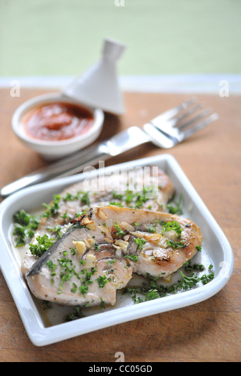 Swordfish in Tomato Sauce - Stock Image