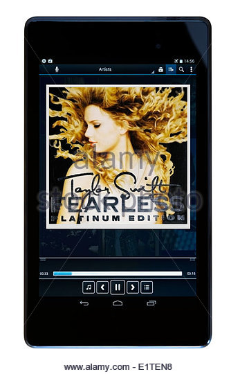 Taylor Swift, album Fearless, MP3 album art on PC tablet, England - Stock Image