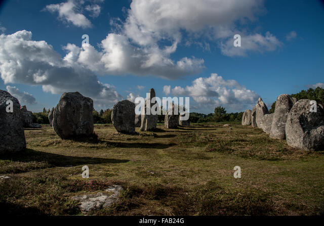 Carnac Menhirs (Pre-celtic megalithic stones) in Northwestern France. - Stock Image