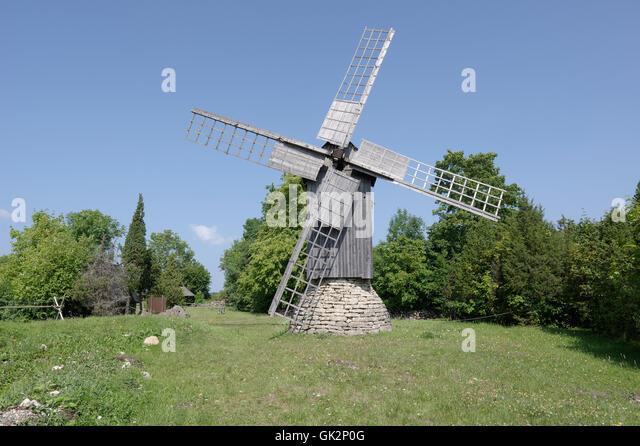 The windmill of Eemu farm at Linnuse village was built in 1881. Island Muhu. Estonia - Stock Image