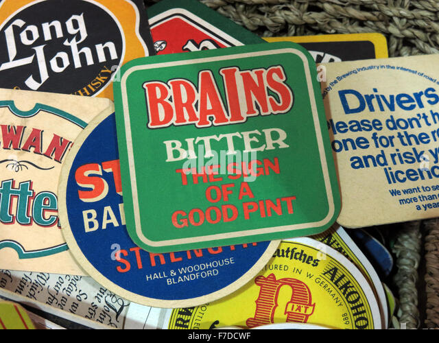 Brains Bitter,British Beer mats / Drip mats from small local breweries - Stock Image