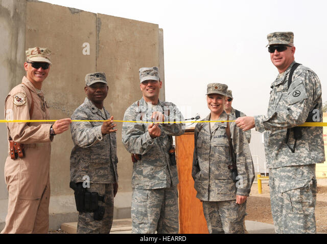 JOINT BASE BALAD, Iraq — From left to right, Brig. Gen. Brian Bishop, 332nd Air Expeditionary Wing commander; Lt. - Stock Image