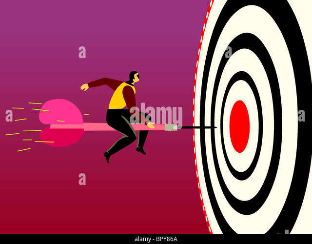 A businessman on a dart that is headed to the bulls eye - Stock Image