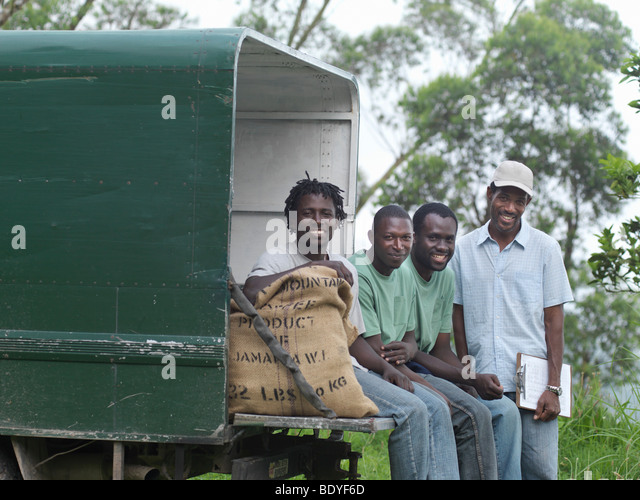 Coffee Workers Sitting On Truck - Stock Image