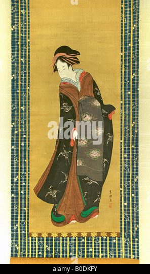 BEAUTY STANDING UP. Painting on silk by Katsushika Hokusai - Stock Image
