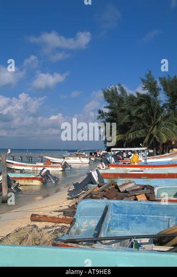 mexico  isla mujeres colorful fishing boats - Stock Image