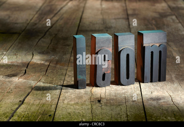 Wooden blocks spelling .com - Stock Image