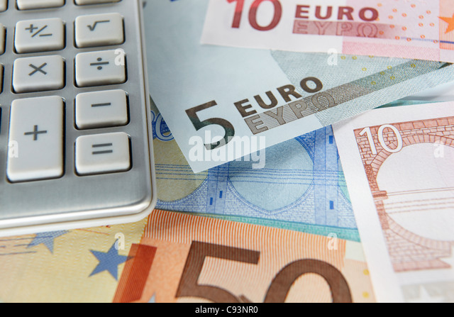 Detail euro notes and calculator - Stock Image