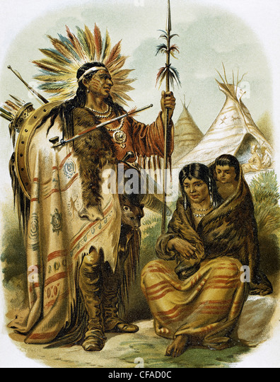 American indians. Indian red race. Colored engraving, late 19th century. - Stock-Bilder