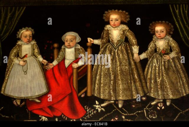 The Four Children of Sir Thomas Lucy III and Alice Spencer, 1619 - Stock Image