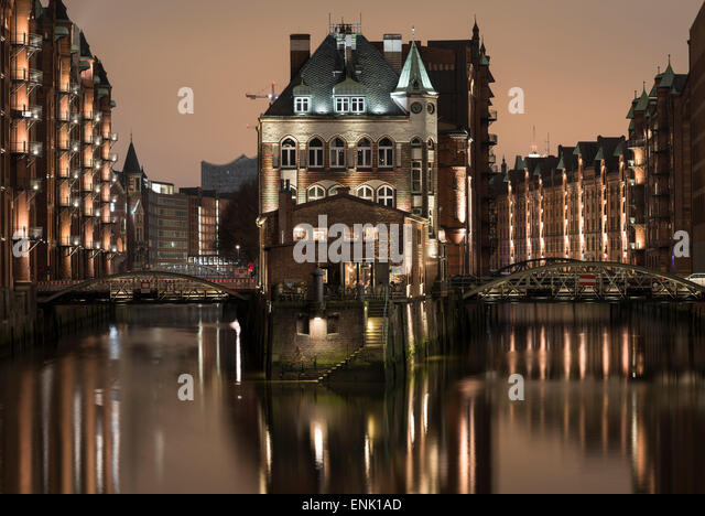 Speicherstadt District, Hafencity, Hamburg, Germany, Europe - Stock Image
