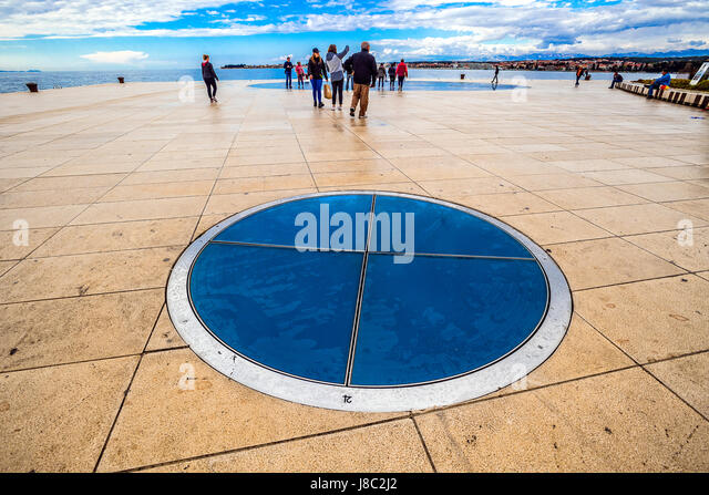 Dalmatia Zadar art installations on the waterfront - planets saturn by Nikola Basic - Stock Image
