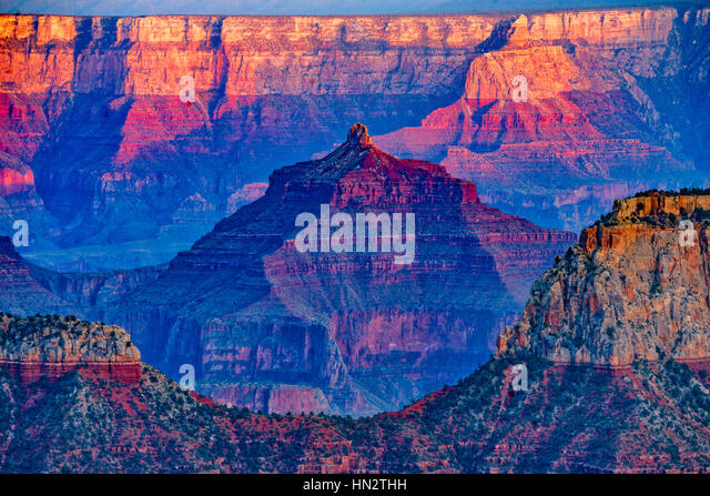 View From Bright Amgel Point, Grand Canyon National Park North Rim, Arizona Brahma and ZOraster Temples - Stock-Bilder