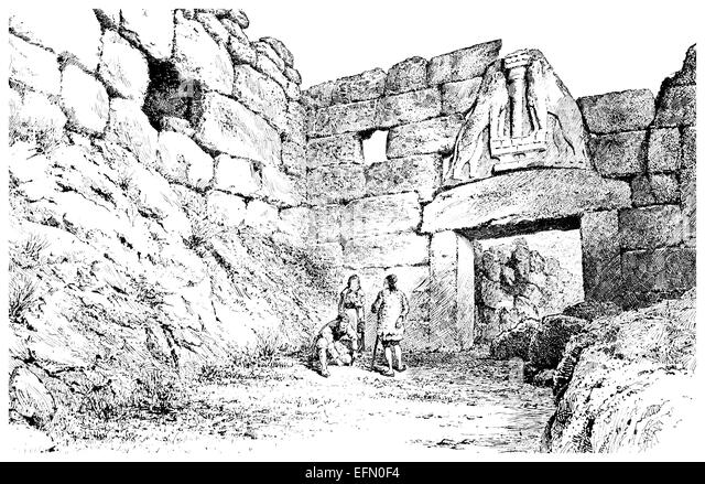 19th century Victorian engraving of the Lion's Gate, Mycenae, Greece - Stock Image
