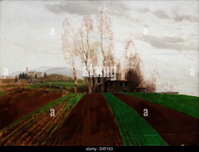 Arnold Bocklin - Farmland in early spring - 1884 - XIX th century - German school - Alte Nationalgalerie - Berlin - Stock Image
