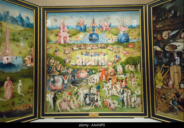 The Garden of Earthly Delights painting by Hieronymous Bosch Prado Museum - Stock Image